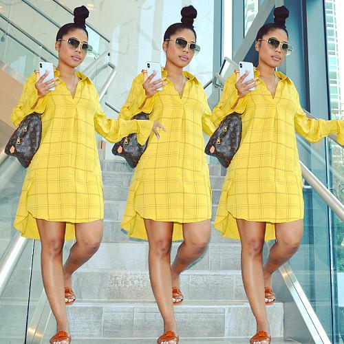 Plaid Print Long Sleeve Button Up Shirt Midi Dresses OM-1256