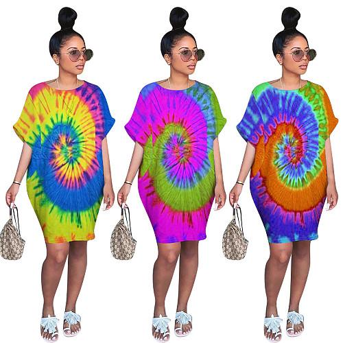 Tie Dye Print Short Sleeve Loose Lantern Dress OMM-9082