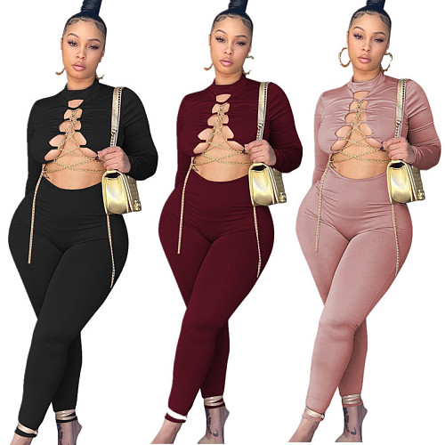 Hollow Out Cross Chain Lace Up Long Sleeve Jumpsuit MYP-8985