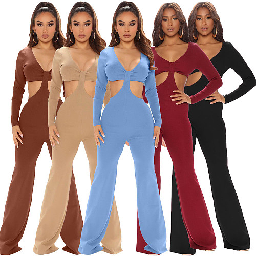 V Neck Long Sleeve Hollow Out Bodycon Jumpsuits LDS-3291
