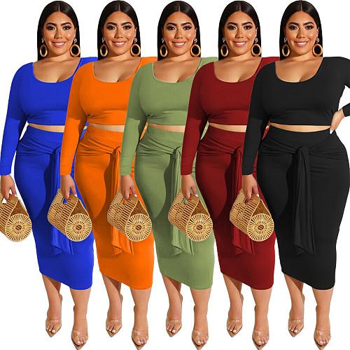 Long Sleeve Crop Top+Lace Up Bandage Skirts Set SMD-82083