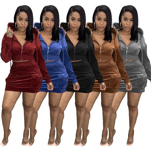 Velvet Hooded Jacket Crop Tops Pockets Skirt Set WSM-5278