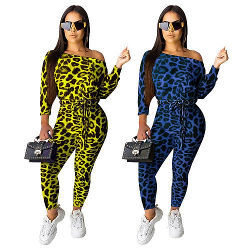 Leopard Print Off Shoulder Long Sleeve Jumpsuit KD-6060