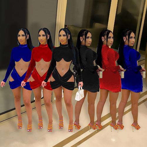 Velvet Patchwork Mesh Turtleneck Bodycon Dress SHE-7283