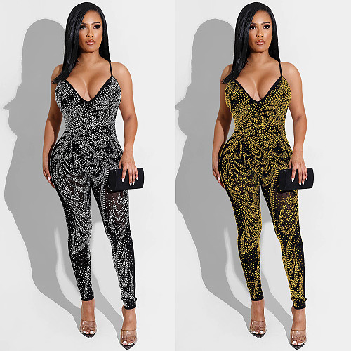 Deep V-Neck Hot Drill Mesh Patchwork Backless Jumpsuit BY-5280