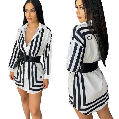 Stripe Print Long Sleeve Button Down Shirt Tops CY-2533