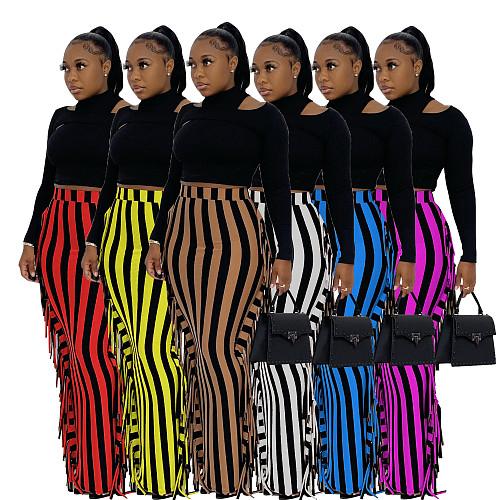 Stripe High Waist Tassel Side Bodycon Pencil Skirts AIL-188