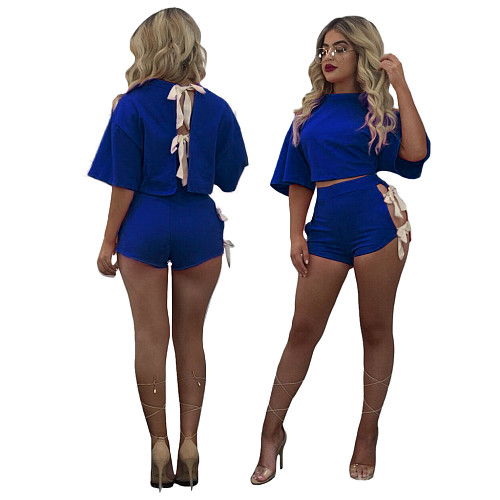 Short Sleeve Backless T Shirt Crop Top Bandage Shorts Set MQX-2327