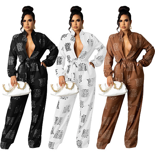 Buttons Up High Waist Long Sleeve Sashes Jumpsuits SHD-9802