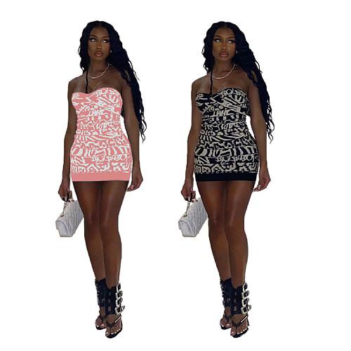 Pattern Print Strapless Bodycon Mini Dress MQX-2322