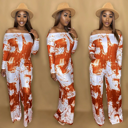 Tie Dye Off Shoulder Long Sleeve Straight Jumpsuit NY-10002