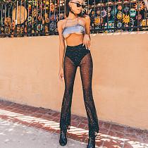 Mesh Sheer See through Mid Waist Flared Pants SUM-93056