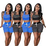 Stripe Sleeveless Vest Crop Pocket Lace Up Shorts Set