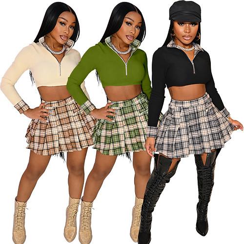 Plaid Patchwork Long Sleeve Crop Top Pleated Skirt Set KDN-2228