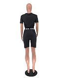 Pattern Print Short Sleeve Crop Top Biker Shorts Set MQX-2360