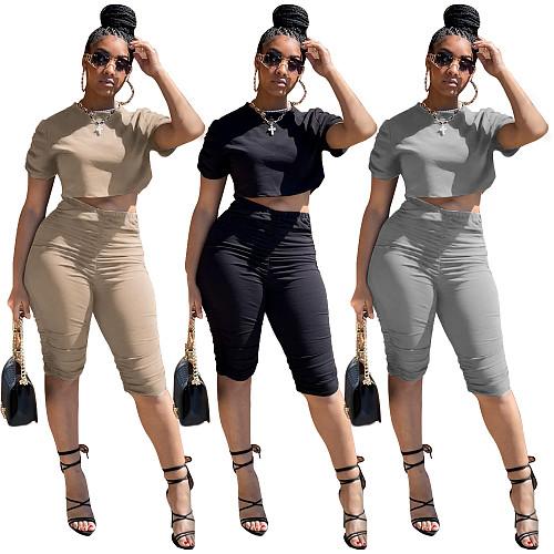 Pleated Knee Length Shorts Short Sleeve Crop Top Set
