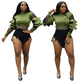 Ruched Ruffles Mesh Patchwork Pullovers Crop Top