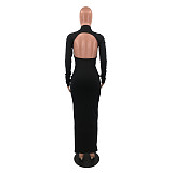 Solid Long Sleeve Hollow Backless Maxi Dress