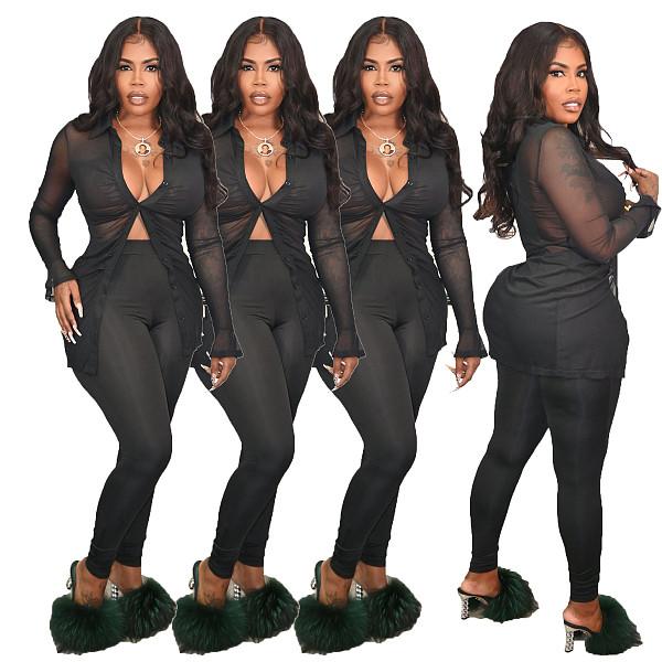 Mesh Long Sleeve Turn Down Shirt Top Pants Set MQX-23584