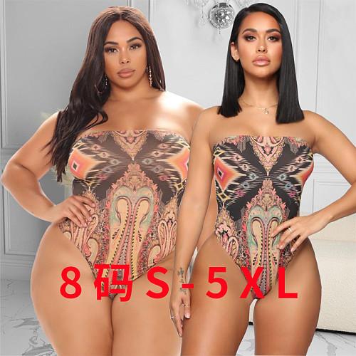 Pattern Print Strapless Plus Size One Piece Swimwear YBS-6808