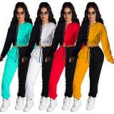 Color Patchwork Bandage Crop Top Sport Pants Set MDF-5259