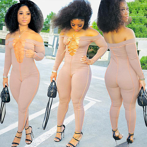 Knitted Off Shoulder Cut Out Bandage Bodycon Jumpsuit YBS-86738