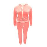 Solid Velvet Hooded Zipper Jacket Tops Pants Set