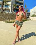 Halter Bandage Bra Cover Up Skirt 3 Piece Bikini Set MQX-6088
