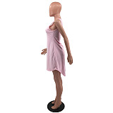 Solid Sleeveless Round Neck Asymmetric Basic Dress