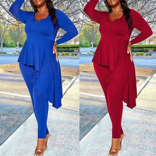 Irregular Ruffles Long Sleeve Top Skinny Pants Set YBS-86737