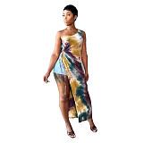 Tie Dye Skew Shoulder Sleeveless High Slit Bandage Dress MQX-2356