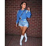 Letter Embroidery Single Breasted Striped Baseball Jacket