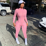 Knitted Long Sleeve Front Zipper Bodycon Jumpsuit