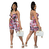 Plaid Hollow Out Halter Bandage Bodycon Romper MQX-23573