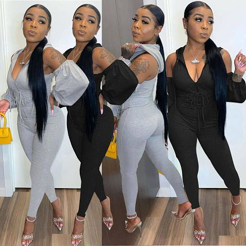 Hollow Out Skinny Bandage Solid Hooded Jumpsuits