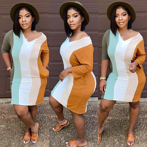 Color Block Striped V Neck Pockets T Shirt Dress