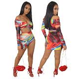 Tie Dye Off Shoulder Bandage Crop Top Mini Skirt Set