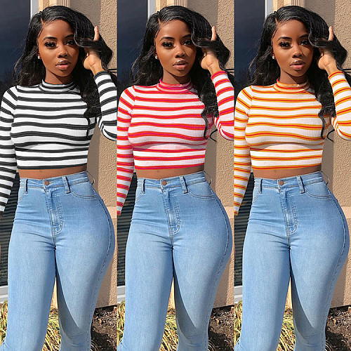 Striped Print Ribbed Knitted Long Sleeve Crop Top