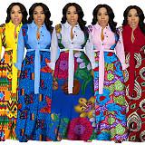 Floral Printed Patchwork Turn Down Big Hem Sashes Dress