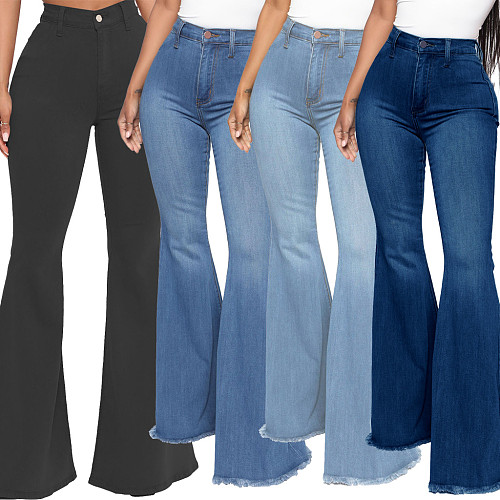 High Waist Stretch Plus Size Flare Jeans Pants