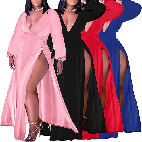 High Slit Long Sleeve Deep V Neck Maxi Dress
