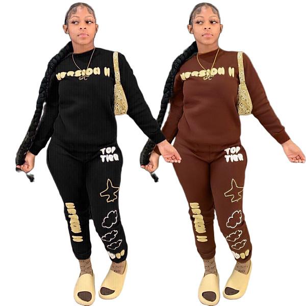 Letter Print Long Sleeve O Neck T-shirt Sweatpants Set