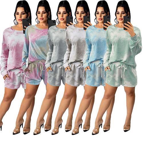 Tie Dye Long Sleeve T Shirt Lace Up Shorts Set