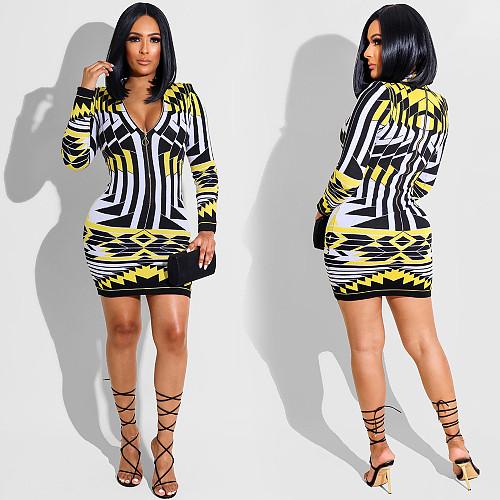 Geometric Print Zipper Long Sleeve Bodycon Dress