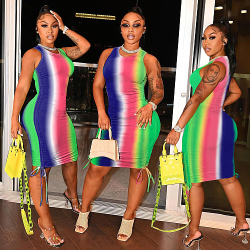 Rainbow Gradient Sleeveless Drawstring Bandage Dress
