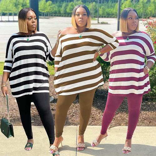 Stripe Print Three Quarter Sleeve T-shirt Long Pants Set