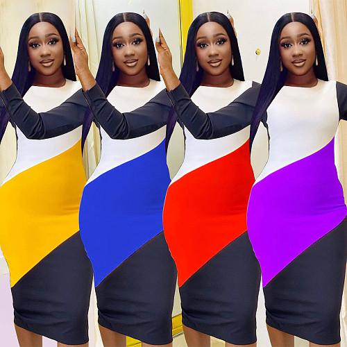 Color Block Long Sleeve Package Hip Sheath Dress