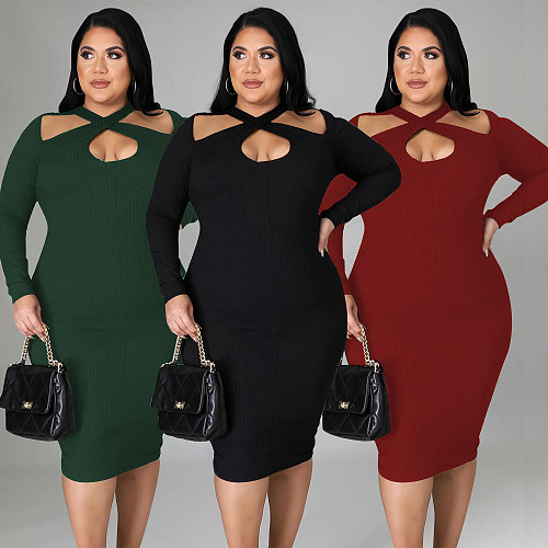 Knitted Hollow Out Long Sleeve Straight Midi Dresses