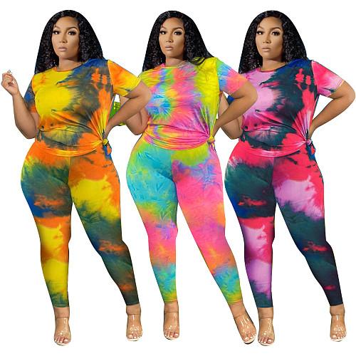 Plus Size Tie Dye Short Sleeve T Shirt Pants Set