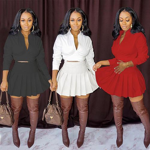 Deep V Long Sleeve Bandage Crop Tops Pleated Skirts Set